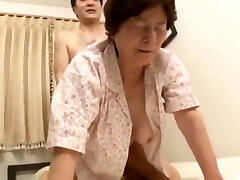 Japanese Granny pounds her 2 not step sons