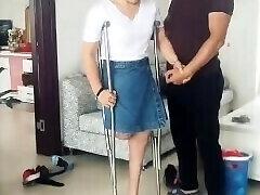 Super-sexy RAK Amputee Wife tries High Stilettos