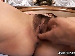 Rather flexible and slim Japanese gal Tsubaki Maya gets pussy tongued