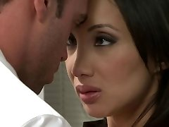 Asian chick gets pulverized in the office