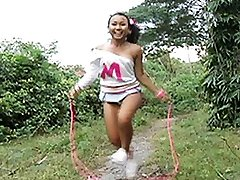 Teen jumps rope