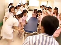 Asian nurses in a warm group sex