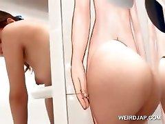 Sexy ázijské ryšavka dostane olízl piču na gloryhole