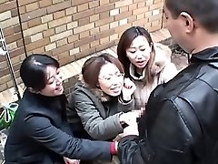 Japanese women taunt man in public via hand-job Subtitled