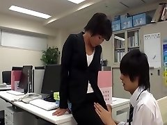 Office nymph masturbate in office with co-worker