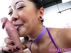 Asian inked honey deepthroats it well