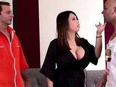 Huge titted asian housewife loves firm double penetration