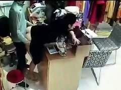 Boss has hookup with employee behind cash register in China