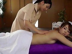 Hottest Japanese whore Ai Uehara, Yui Hatano in Fabulous rubdown, lesbian JAV video