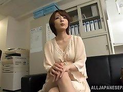 Arousing short-haired Japanese model Yukina enjoys threesome