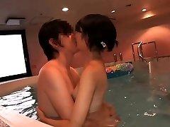 Supercute Japanese teenie Ruri humped in the indoor pool