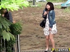 Embarrassed japanese urinating