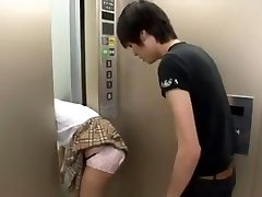 Japanese Schoolgirl Trapped on Elevator Trio