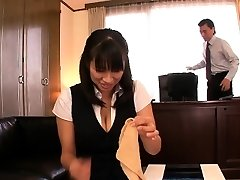 Japanese mature Hana Haruna smacked on desk