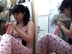 Asian teenager inserts dildo