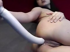 Hefty dildo anal insertion