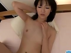 Ruri Okino tries trouser snake in her jaws and in her pussy