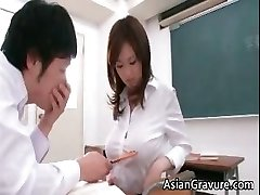 Stunning and horny japanese teacher shows her part3
