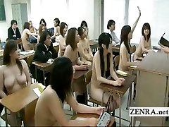 Freaky Japan college with naked in school schoolgirls