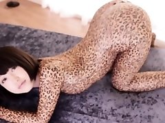 Flexible de asia cosplay de chicas en el body de leopardo creampied
