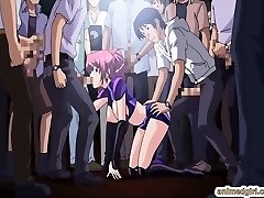 Beauty Asian anime group sex in the public show