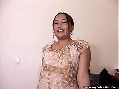 Chubby Asian fledgling housewife gives a steaming blowjob