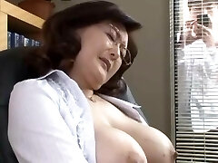 Japanese school director wanks in the office