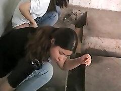 Chinese women caught peeing