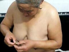 Chinese grannie in the bath
