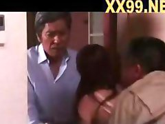 Beautiful skinny Japanese chick gets passionate with an old man and a young chap