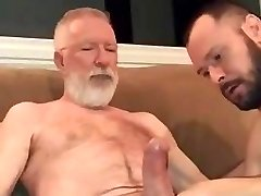 Deep-throating old guys big cock