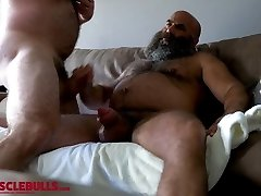 hairy muscle bear shooting a large flow