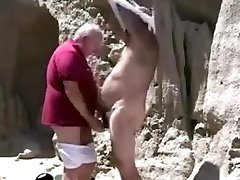 Two mature old homo grandpa playing with each other