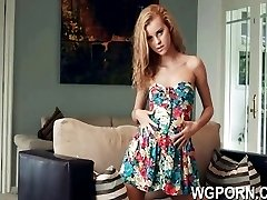 Petite blonde Jessie Rogers on a huge dildo