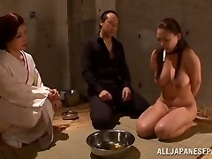 Massive boobed Japanese AV model plays sub and gives a hot headfuck