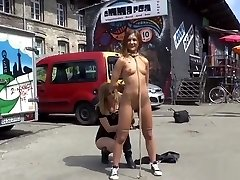 German babe gets rope restrain bondage in public