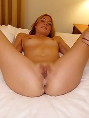 Pretty girl loaded with lots of jism on her twat