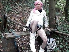 Crossdresser pink hair woodland faux-cock fun
