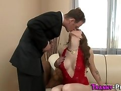 Mind-blowing tgirl cum covered