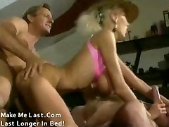 Classic porn with huge cupcakes blond banged by two
