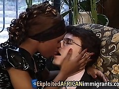 African Babe Loves Riding Big White Schlong