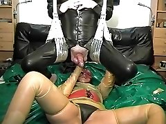 vintage rubber latex couple ass fisting cum shot