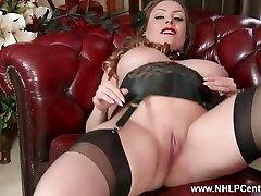 Natural big tits brunette Sophia Delane wanks in nylon high-heeled slippers
