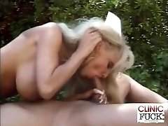 Busty Nurse Stiffy Sucking By The Pool