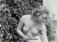 Nudist Girl Feels Good Naked in Garden (1950s Vintage)