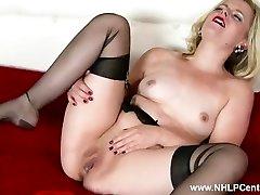 Crazy blonde Anna Belle wanks in retro garter and sheer ebony nylons