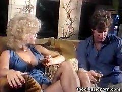 Blonde in underwear gets cum splash