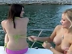 Dolls GONE Crazy - A Duo Of Young Teen Lesbians Having Fun On A Boat
