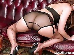 Brunette takes off off vintage lingerie milks in nylons mules