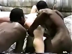 Horny wife gets gang-fucked by black studs.